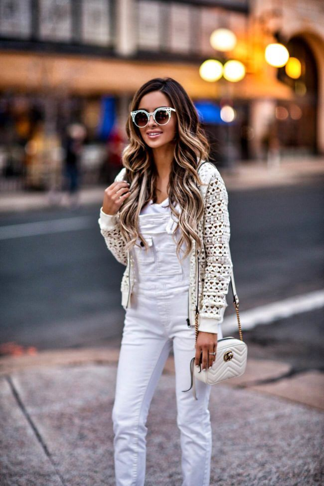 01b38965fc59 How To Pull Off Overalls This Spring - BB Dakota Eyelet Bomber Jacket     Free People Overalls    Sam Edelman Suede Heels    Gucci Marmont Bag     Alexander ...
