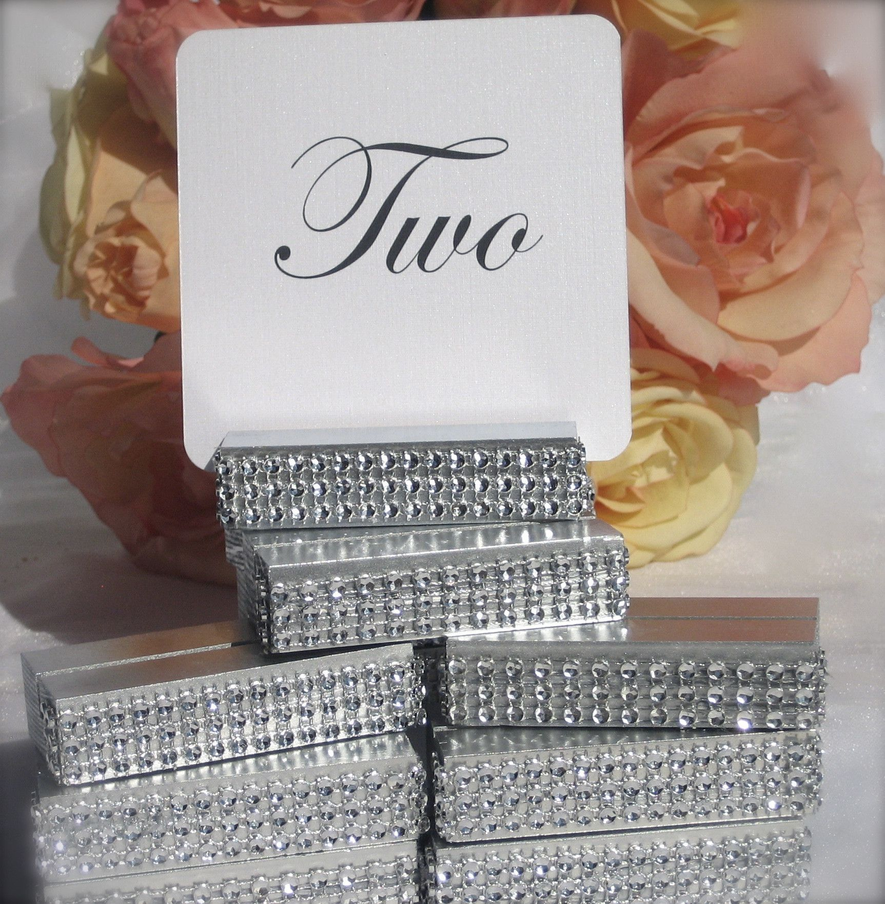 Table Number Holder Silver Wedding SilverTable Holders Wrapped With A