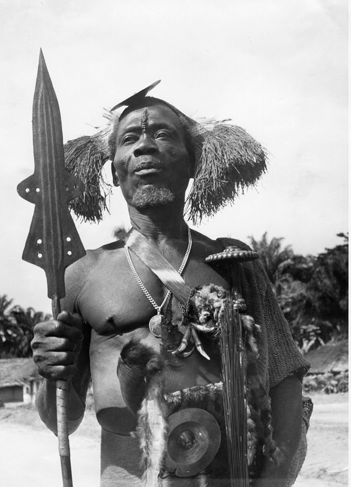 Vintage photograph of a Ekonda warrior from the Congo.