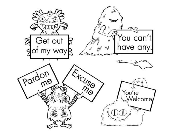 Coloring sheet 8 best images of preschool manners coloring for Manners coloring pages