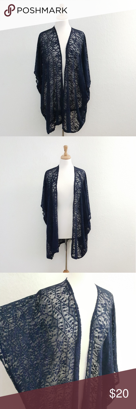 Navy Blue Lace Kimono Cardigan, Cover ups, Kimonos Designed with ...