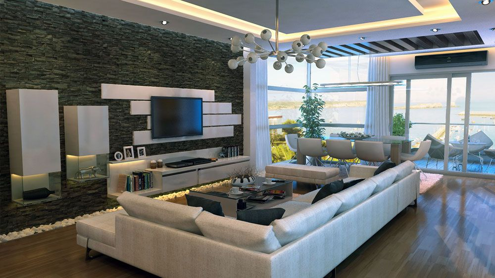 Modern Stone Feature Wall Living Room: Modern Stone Feature Wall ...