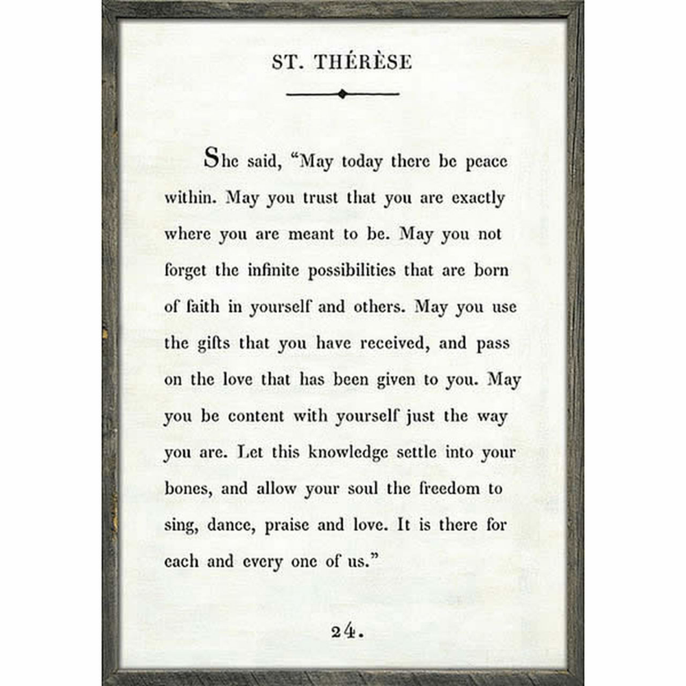 St Therese Art Print White Inspirational Quotes Wall Art Wall Art Quotes Sugarboo Designs