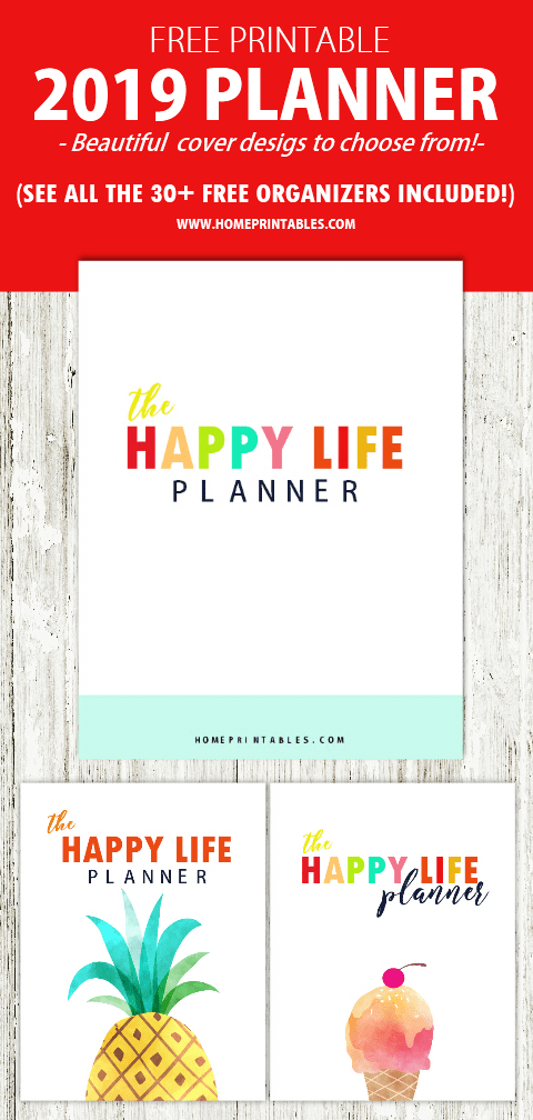 Free Printable 2019 Planner 30 Amazing Life Organizers Planners