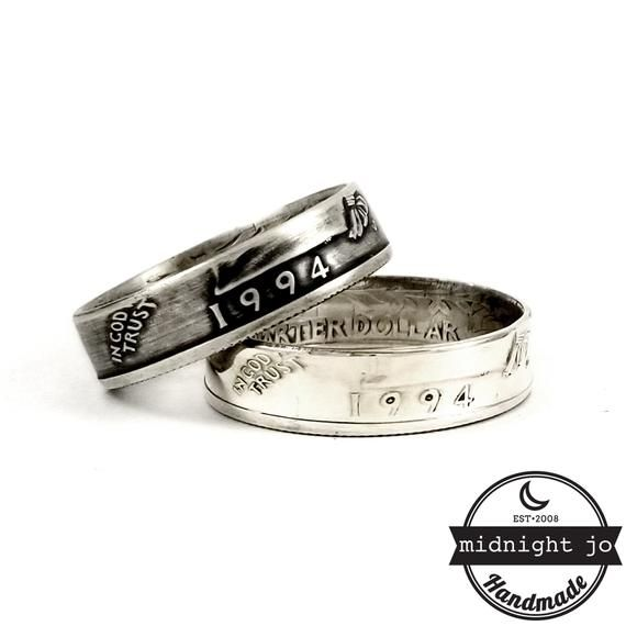 25th Anniversary Ring Set Silver 1994 Quarter Ring His Hers