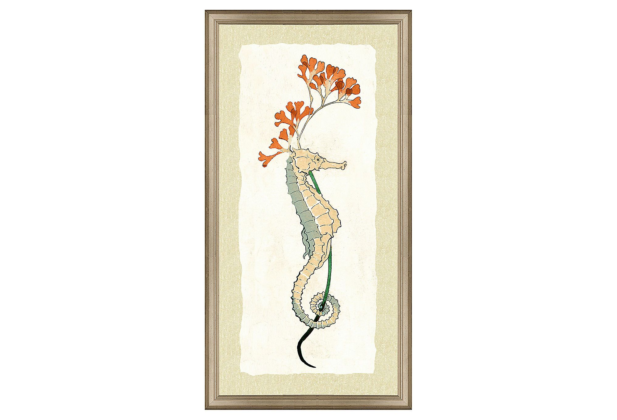 One Kings Lane - Island Living - Teal Seahorse Print II