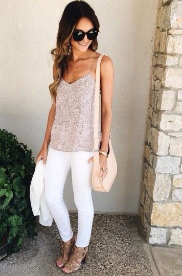 a90b6b01ca1  roressclothes  closet ideas fashion outfit style apparel Tank Top and  White Pants via