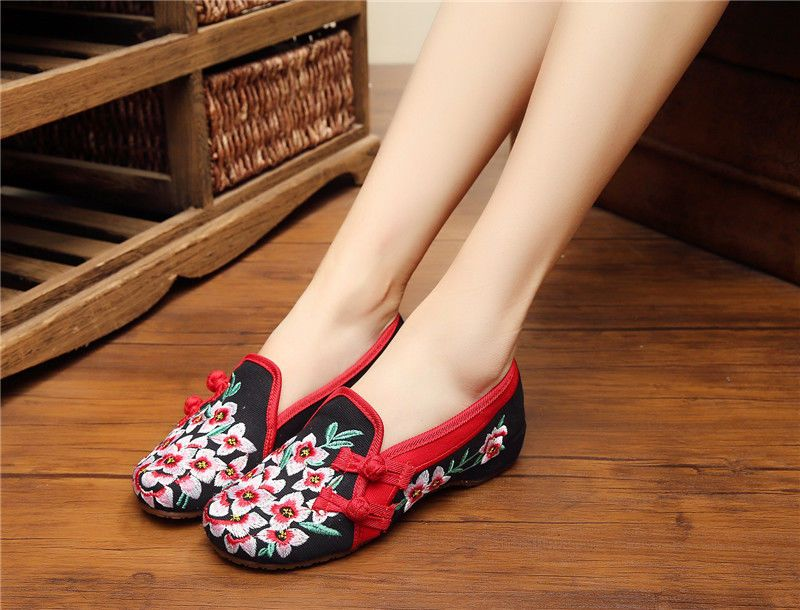 Women Espadrilles Slip-On Boat Chinese Style Flat Shoes Casual Embroidery Shoes