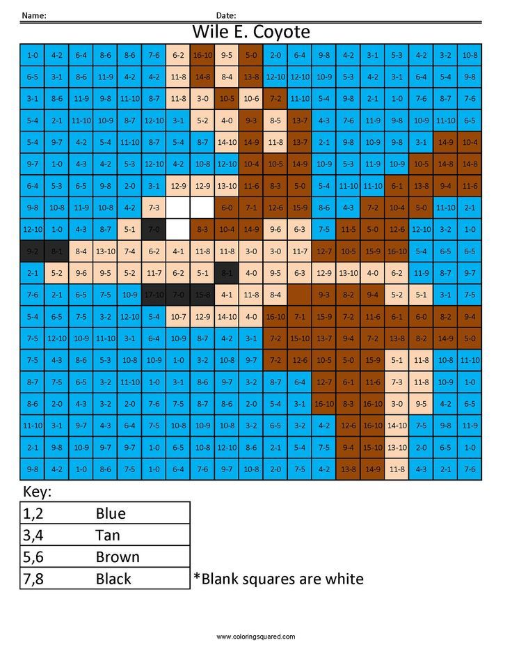 Cartoon- Addition and Subtraction | Coloring Squared ...