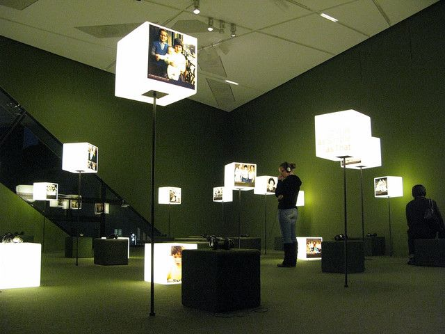 light cubes and sound stations at the Jewish Museum Pavilions #exhibitdesign #lighting #tradeshow