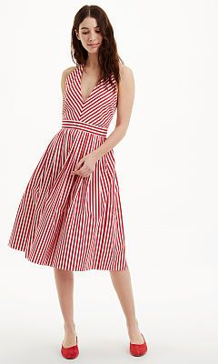 216666900921 red and white striped halter dress