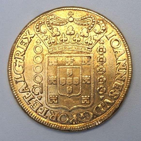 Moeda De Ouro Brasil 20 000 Reis 1724 Mmmm Dobrao A Data