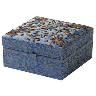 Handmade Fabric Jewelry Box with Gold Trim India Overstockcom