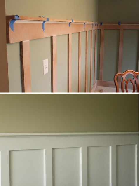 Love This A Less Expensive Way To Have Chair Rail Wainscoting Diy Board And Batten Step By Step Tutorial Diy Home Improvement Home Projects Home Diy