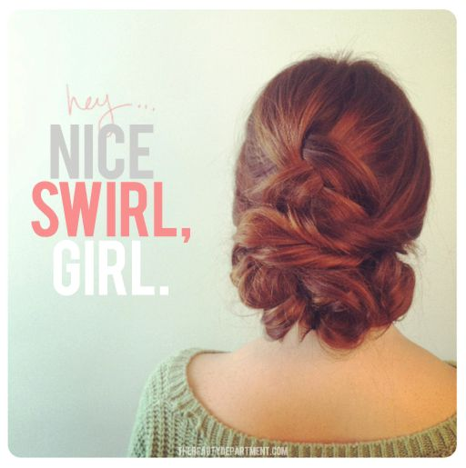 Oh, heck yes, I want to try this. Swirly, inside-out french braid updo.