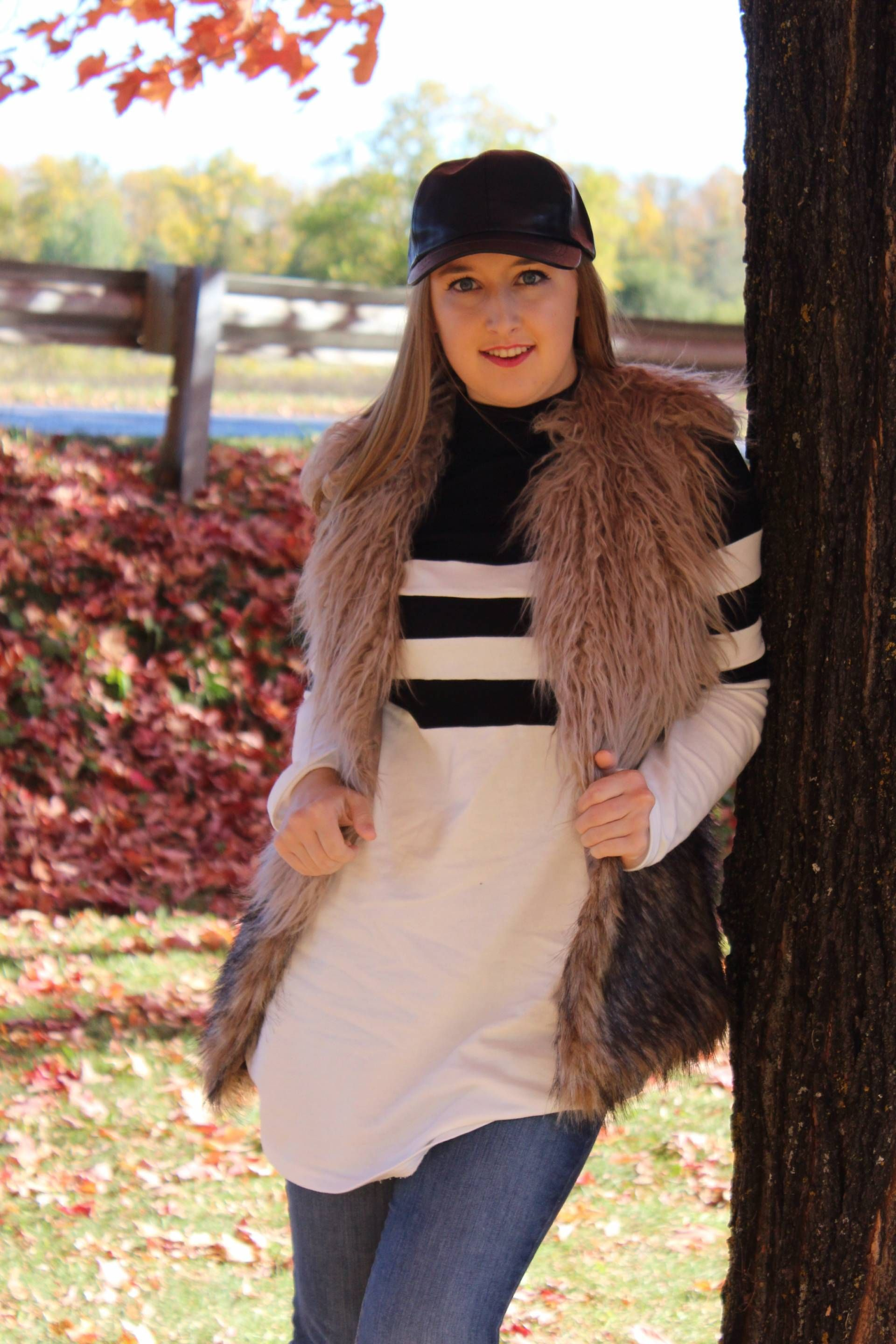 LONG STYLE W/ MAKE ME CHIC // Faux Fur Vest // Long Shirt // Ripped Skinny Jeans // Leather Ball Cap // Converse On Pearls and Polkadots...