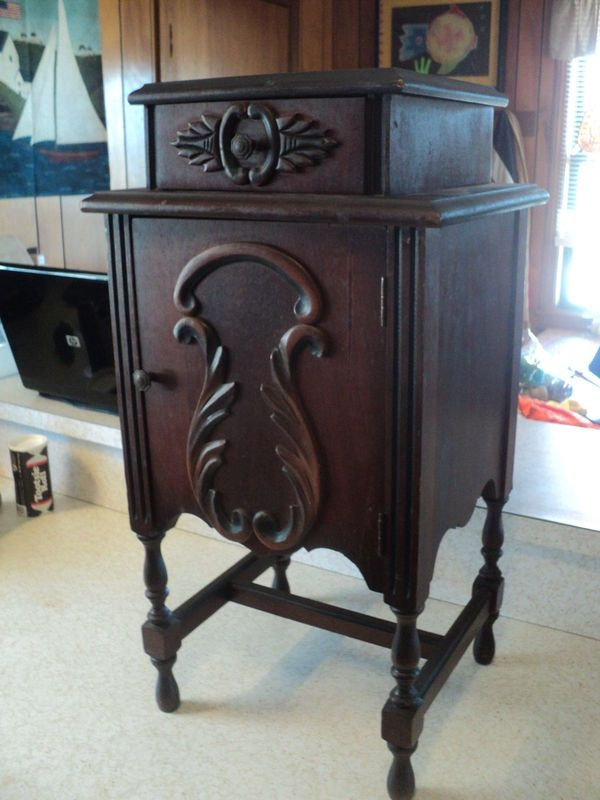 Antique Tobacco Cabinet Cigar Pipe Tobacco Stand Table