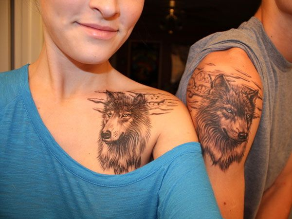 Matchin Tattoos Couples Tattoo Designs Wolf Tattoos Couple Tattoos