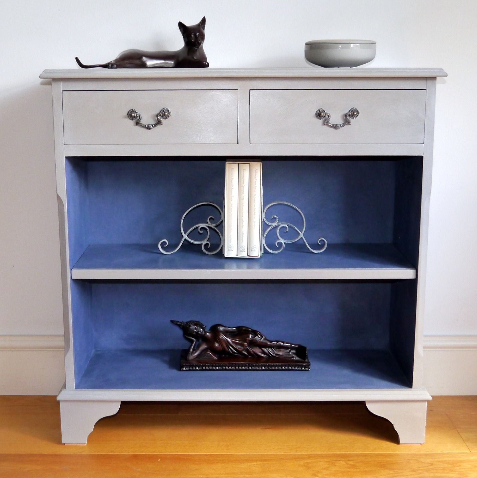blue console table. Hall Console Table Bookcase | Hand Painted French Linen \u0026 Blue
