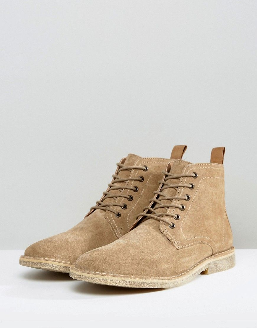 ASOS Desert Boots In Stone Suede With