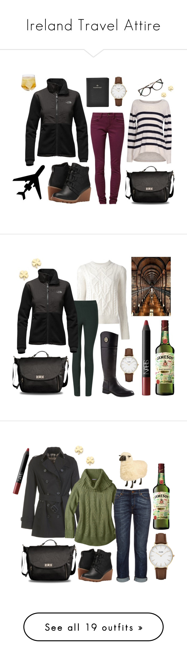 """Ireland Travel Attire"" by andreabrittingham on Polyvore featuring The North Face, TWINTIP, Velvet by Graham & Spencer, Bulgari, FOSSIL, CLUSE, Schott Zwiesel, Jennifer Meyer Jewelry, Isabel Marant and Phase Eight"