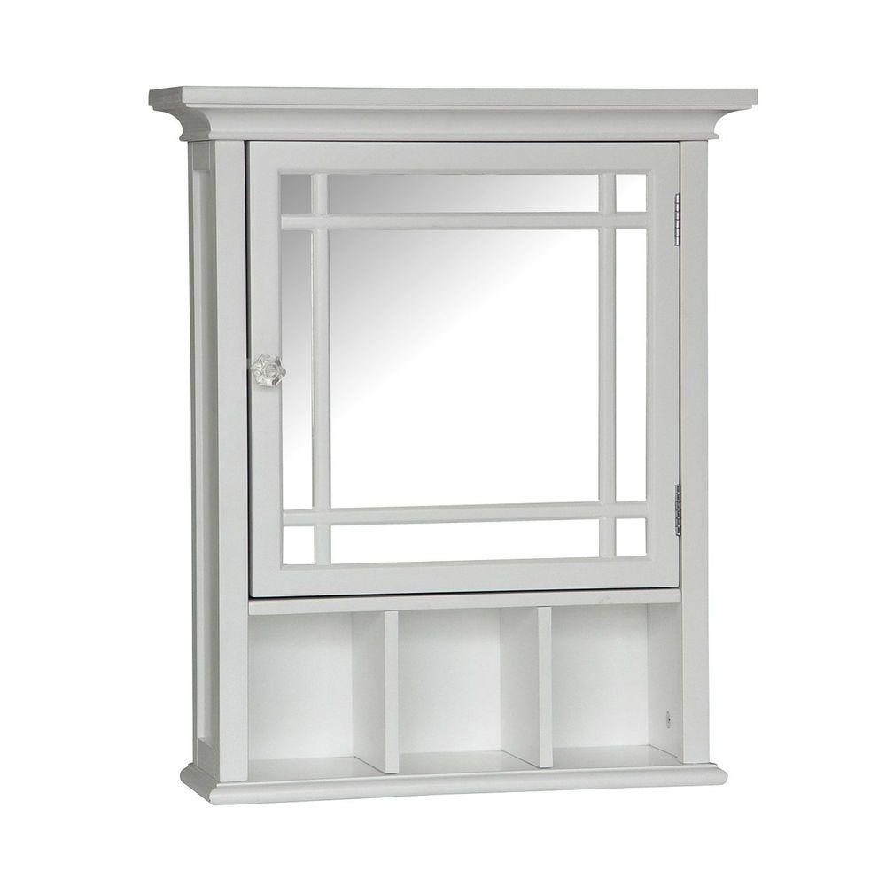 Wall Mount Cabinet Bathroom Toilet Space Saver Storage Shelf White ...