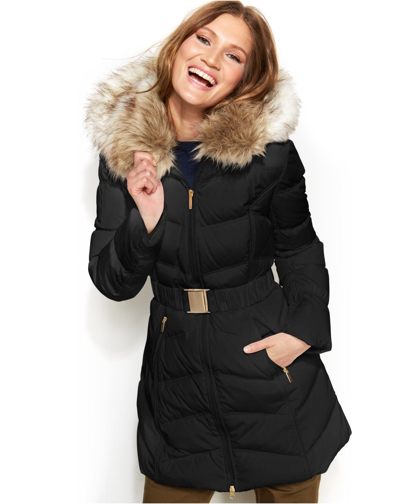 Laundry By Shelli Segal Faux Fur Hooded Down Puffer Coat Coats