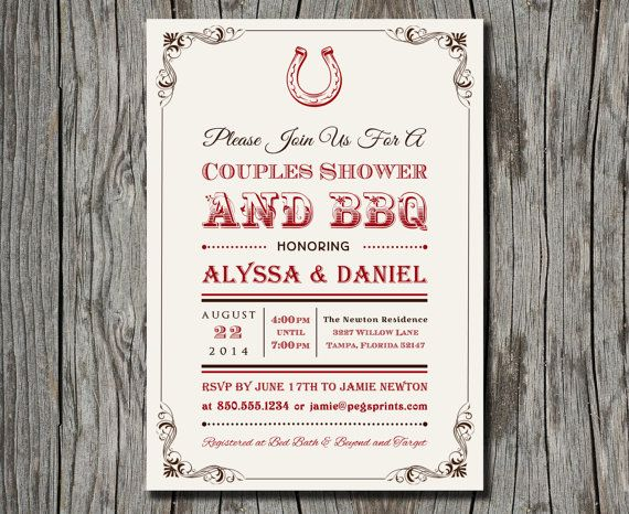 Couples Shower Backyard BBQ Invitation  Country by pegsprints, $15.00