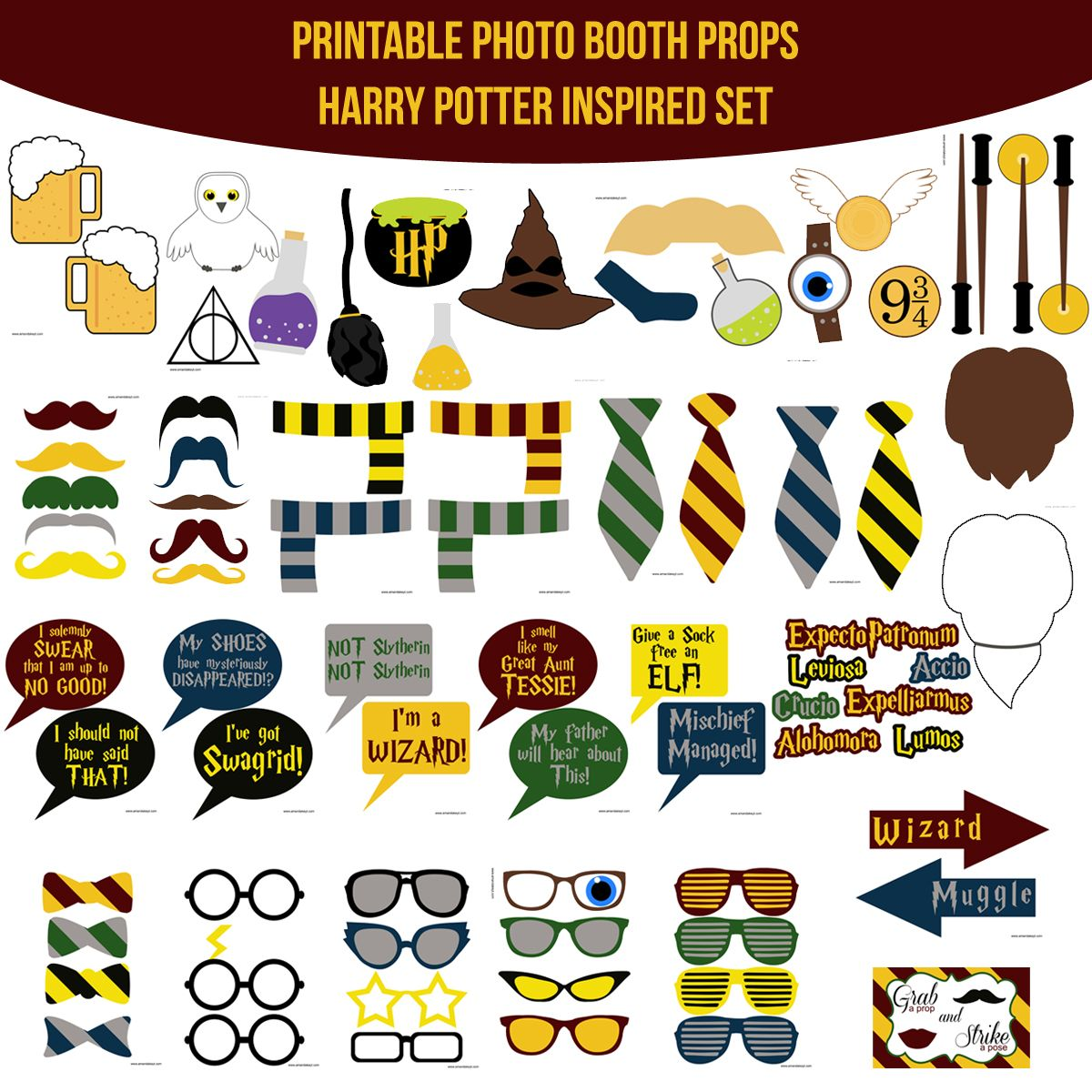 picture regarding Harry Potter Printable Props titled Quick Obtain Harry Potter Encouraged Printable Photograph Booth