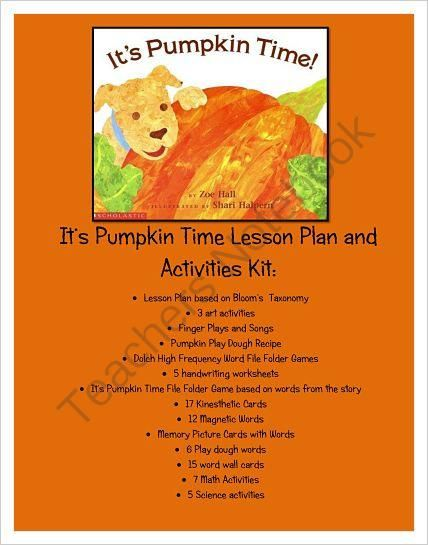 It S Pumpkin Time Written By Zoe Hall Lesson Plan And Unit
