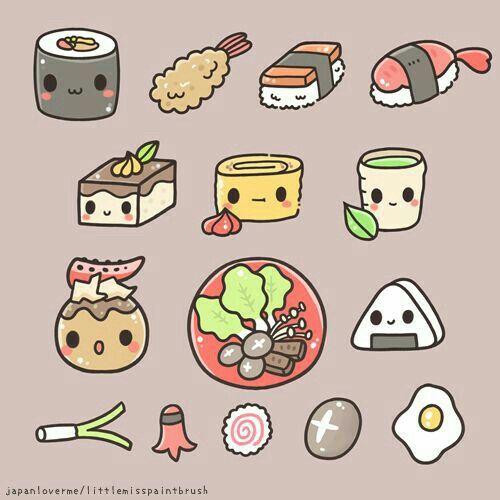 Food Sushi Onigiri Tempura Rice Balls Kawaii Kawaii Doodles