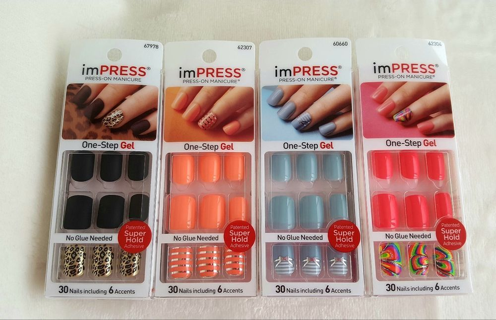 4 Design Choices Kiss Impress One Step Gel Manicure 30 Nails Includes 6 Accents Impress Nails Gel Manicure Manicure