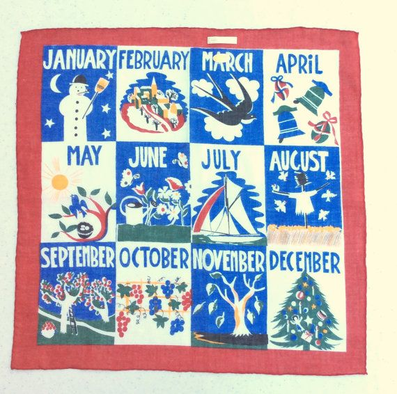 Items similar to Vintage Calendar Hankie Celebrate Every Month MWT on Etsy