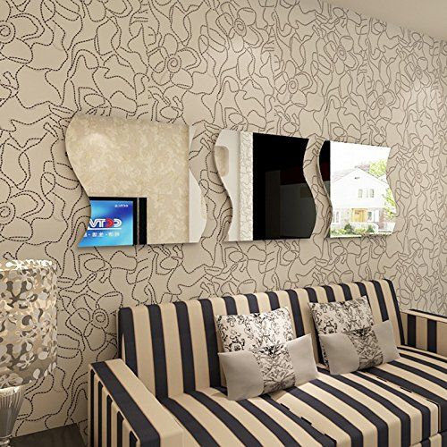 15 99 alrens diytm3 pcs wave squares acrylic mirror wall decor diy 3d effective reflective wall sticker