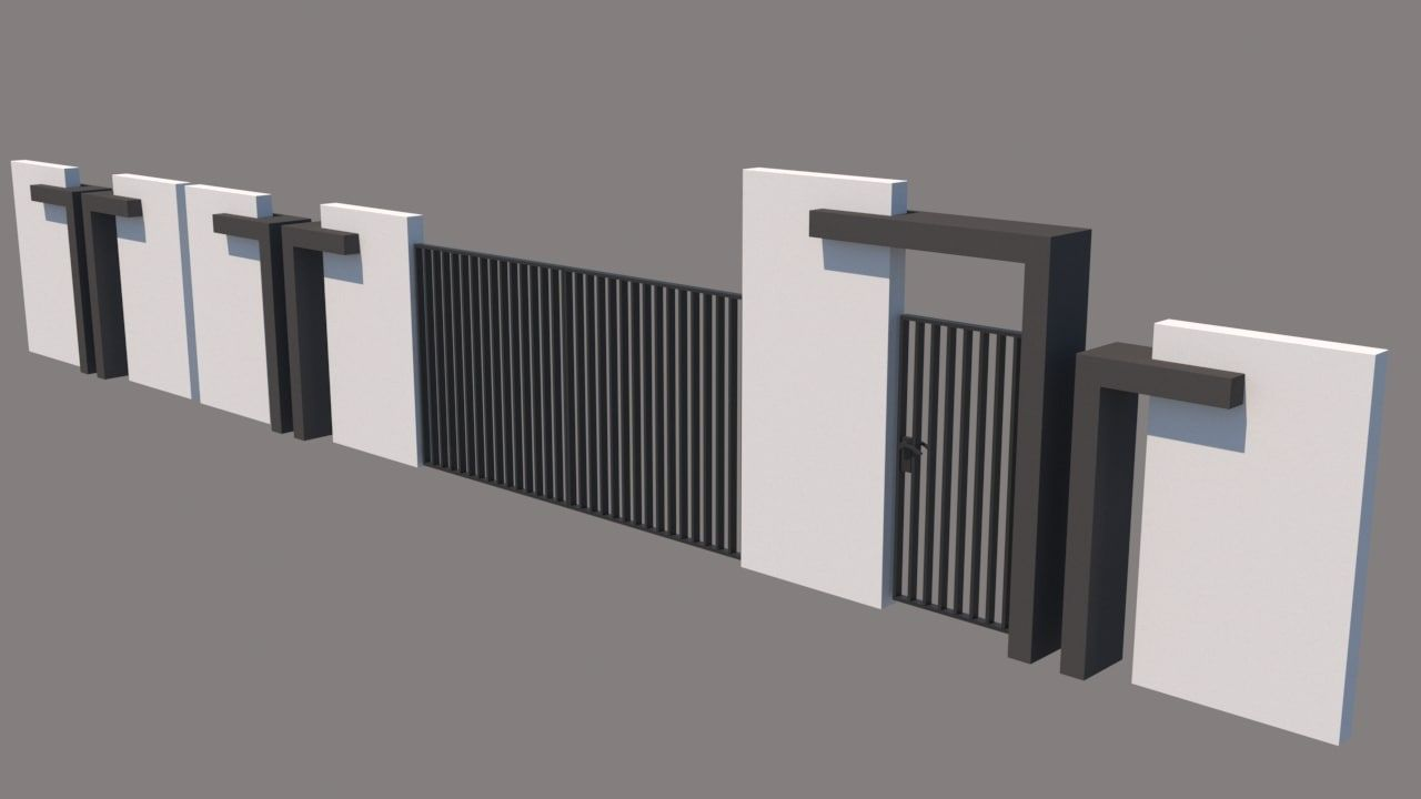 Modern Fence 3d Model Raju Pinterest House Fence