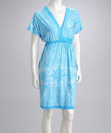 Take a look at this Aqua Paisley Dolman Dress by Just Love on #zulily today!