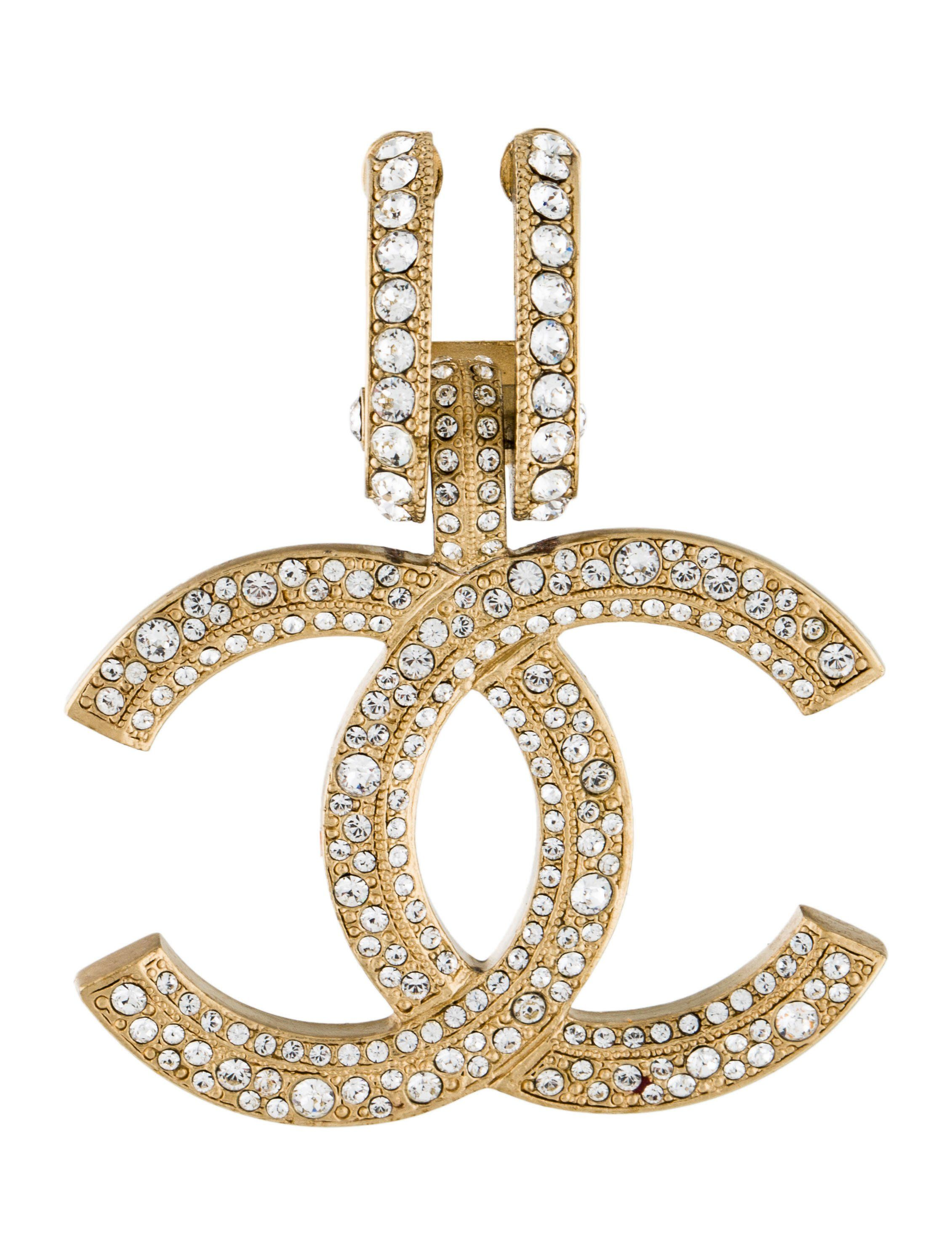 From the Summer 2017. Goldtone Chanel crystal earring