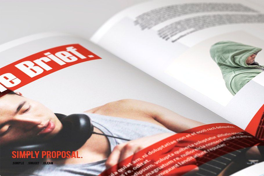 Ad proposal layout with red accent by bizzcreatives on