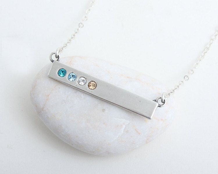 Birthstone Bar necklace personalized Birthstone necklace for mom Silver bar necklace Birthstone jewelry Personalized Gifts for Mom 5014.