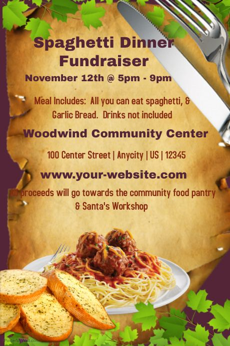 Customize this spaghetti dinner fundraiser template with your - fundraiser template free