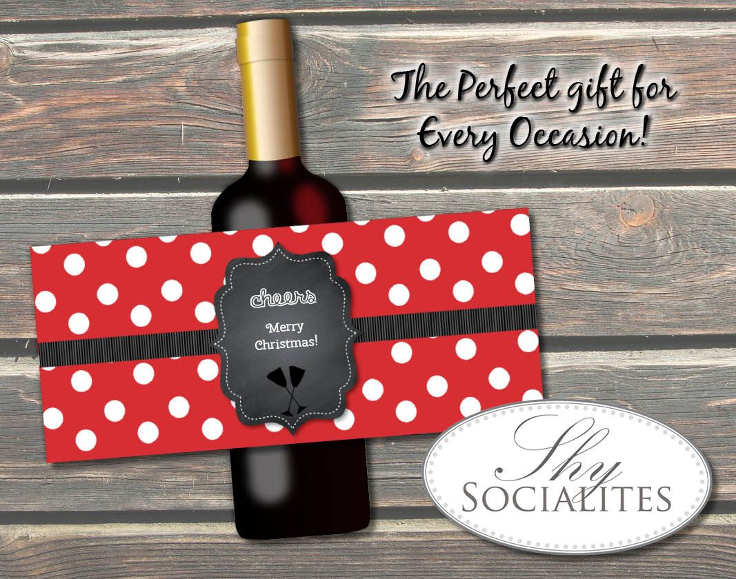 Red Polka Dot Chalkboard Printable Wine Label Hostess Gift Holiday Gift Wedding Wine W Bottle Labels Diy Wine Label Printable Christmas Wine Bottle Labels