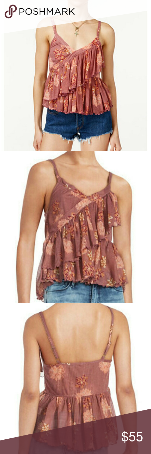 NWT Free People Tiered Flowy Blouse Gorgeous lightweight blouse with tiered flowy layers. Adjustable straps. Feel free to make an offer! Free People Tops Tank Tops
