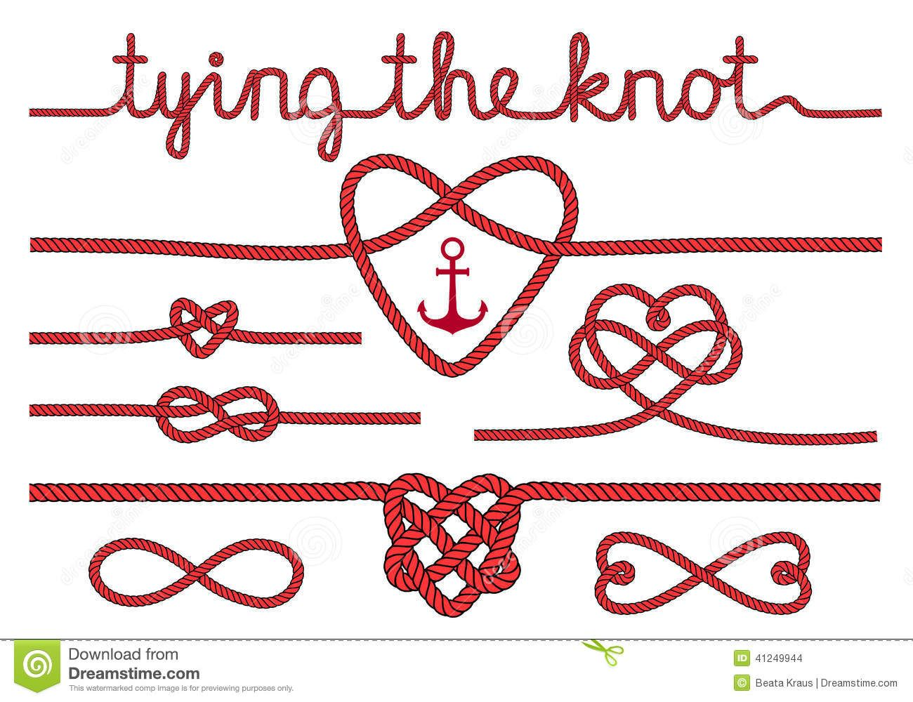 rope hearts knots vector set tying knot wedding invitation design ...
