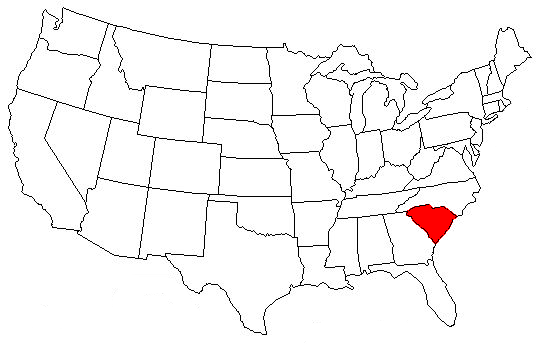 Map Of The US Highlighting South Carolina Interests And - South carolina on us map