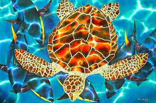 Jean-Baptiste.com Silk Painting of a sea turtle