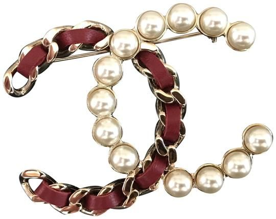 fdc6429d6acae7 Gold Leather and Imitation Pearl Cc Brooch in 2019 | Holly's Great ...