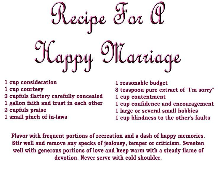 Recipe for marriage funny