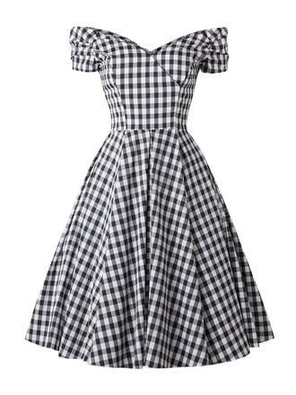 Black 1950s Plaid Swing Dress