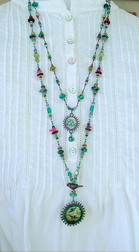 Boho Necklace Fairytale Necklace Long Beaded Necklace