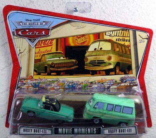 Cars Movie Moments: Rusty & Dusty by Mattel. $27.99. From the Manufacturer                Your favorite characters from the hit Disney/Pixar movie CARS, are available in new collectible die-cast 2-Packs. Each 2-pack features a hard to find car that's not available in the current main line. Look for Cactus McQueen, Doc Hudson and Sheriff; Pace Car, Lightning McQueen and The King; and Dinoco Chick Hicks Mia and Tia. Relive the friendship and fun with the film's heroes, belov...